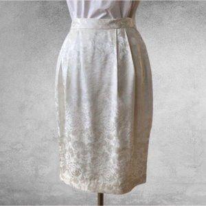 VINTAGE Silk Jacquard Print Pencil Skirt
